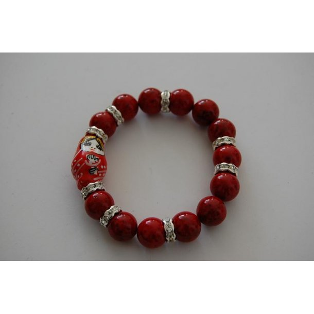BABUSHKA - armbånd rød coral